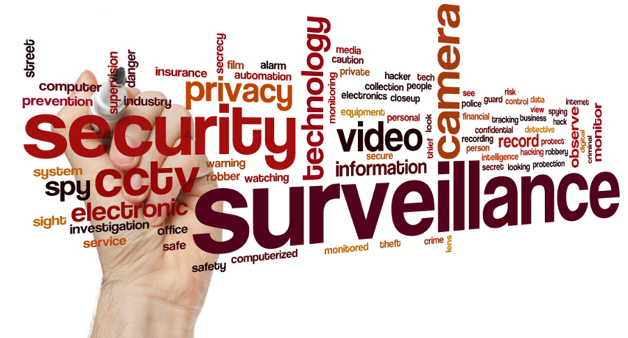 Surveillance concept word cloud background
